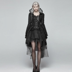 Black Gothic Lace Dress Coat | Punk Rave