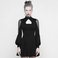 Black Gothic High Collar Inverted Peach Heart Dress | Punk Rave