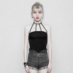Black Punk Minimalist Sexy Strap Bottom Vest | Punk Rave