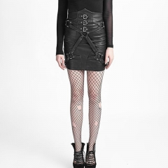 Black Punk Close-Fitting Bandage High Waist PU Skirt | Punk Rave