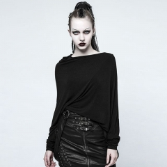Black Gothic Punk 3D Cutting Blouse | Punk Rave