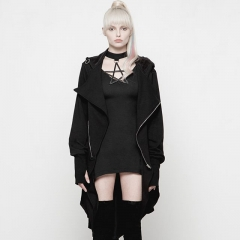 Goth Dark Iron Ring Decorative Irregular Hem Coat | Punk Rave