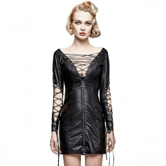 Black Gothic Punk Hollow out Deep V PU Dress | Punk Rave