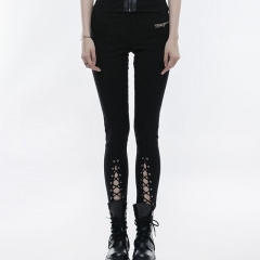 Black Daily Punk Skinny Leg Pants | Punk Rave