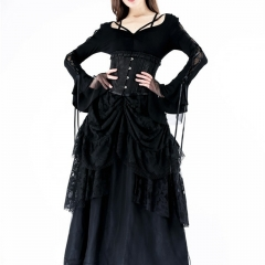 Gothic Blouse with Half Mesh Sexy Sleeves | Dark in Love