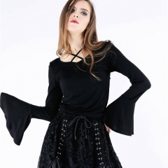 Gothic Knitted Blouse with Hook Flower on Back | Dark in Love