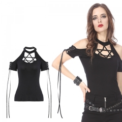 Black Gothic Punk Star T-shirt Off-the-Shoulder | Dark in Love