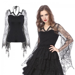 Gothic Characteristic Neck Blouse with Spider Bat Sleeves | Dark in Love