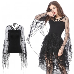 Black Gothic Blouse with Lace Flower Big Sleeves | Dark in Love