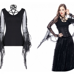 Black Gothic Punk Star Blouse | Dark in Love