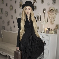 Gothic Puff Sleeve Women Swallow Tail Long Lace Vintage Coat