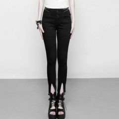 Gothic High Waist Zipper Opening Fork Nine Points Jeans | Punk Rave