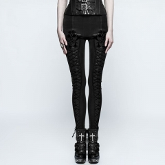 Goth Tie Rope Thickened Leggings | Punk Rave