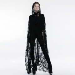 Gothic Transparent Lace Long Cloak | Punk Rave