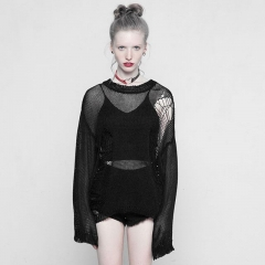 Black Gothic Tattered Mesh Hole Loose Sweater | Punk Rave