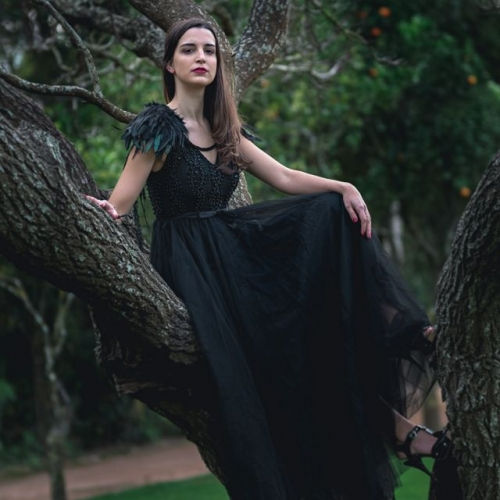 Black Gothic Sleeveless Deep V long prom sexy dress