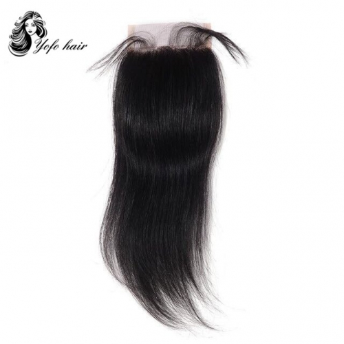 "YOFO Brazilian  Virgin  Straight Hair Lace Closure 4""X 4"" Free Part 8inch-18inch"