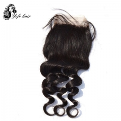 "YOFO Brazilian  Virgin  Hair Loose Wave Lace Closure 4""X 4"" Free Part 100% Human Hair"