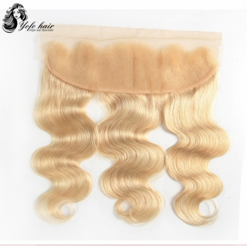 Brazilian Blonde #613 Body Wave 13''x4'' Lace Frontal Closure 100%Human Remy Hair Pre-Plucked Hairline YOFO Hair Products