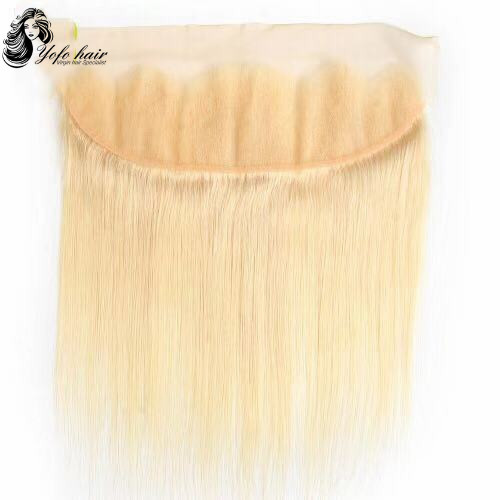 Blonde 13''x4'' Lace Frontal Closures 100% virgin human hair 613#  Ear To Ear Free Part golden blonde