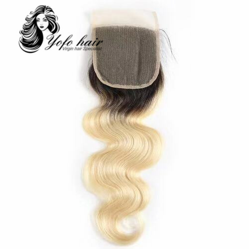 YOFO HAIR 100% virgin human hair Blonde 1B/ #613 body wave lace closure 4x4 with baby hair