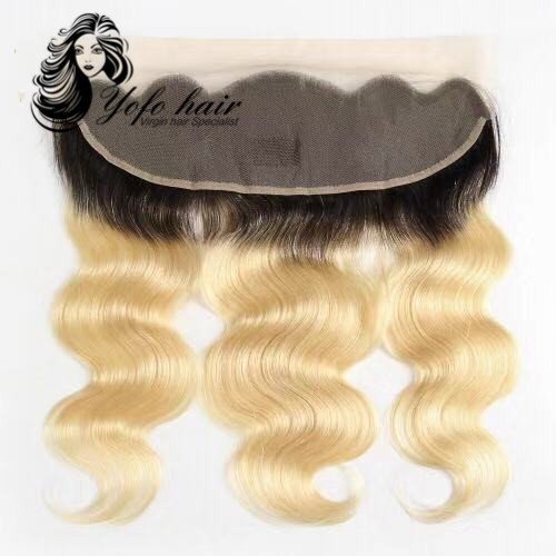 Brazilian Blonde 1b/#613 Body Wave 13''x4'' Lace Frontal Closure 100%Human Remy Hair Pre-Plucked Hairline YOFO Hair Products