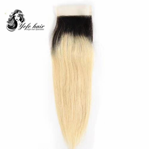YOFO HAIR 100% virgin human hair Blonde 1B/ #613  straight lace closure 4x4 with baby hair