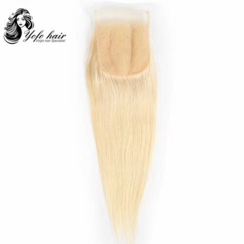 YOFO HAIR Brazilian #613 Blonde Straight Lace 4''x4'' Free Part Closures Bleacked knots With Baby Hair 100% Human Remy Hair