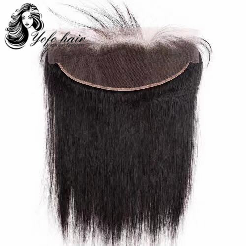 YOFO HAIR  Lace Frontal Closure Straight  Virgin  Hair 13*4 Bleached Knot 100% Human Hair FREE SHIPPING