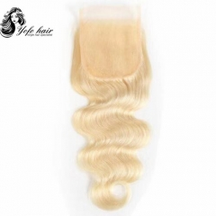 YOFO HAIR Blonde Brazilian Remy Hair Blonde #613 Body Wave Lace Closure Free Part 4x4 Swiss Lace 10''-20''Inches With Baby Hair