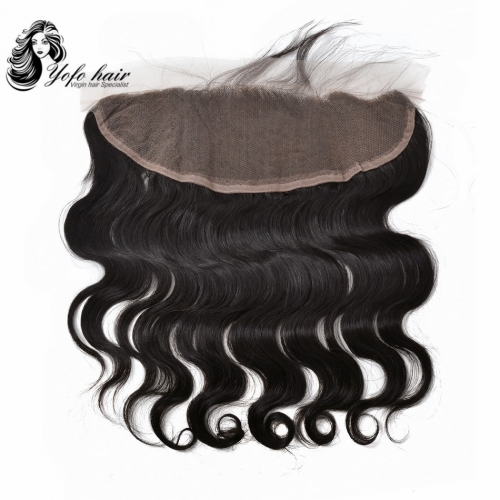 YOFO HAIR Lace Frontal 13x4 Closure Brazilian Body Wave 100% Virgin Human Hair Free Part Pre Plucked Bleached Knot With Baby Hair