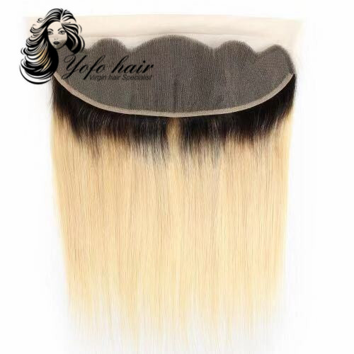 YOFO HAIR 100% virgin human hair Blonde 1B/ #613 straight lace frontal 13x4 with baby hair