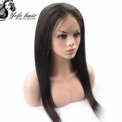 YOFO HAIR pre-plucked 360 lace frontal wig straight virgin human hair glueless adjustable elastic band wig with baby hair