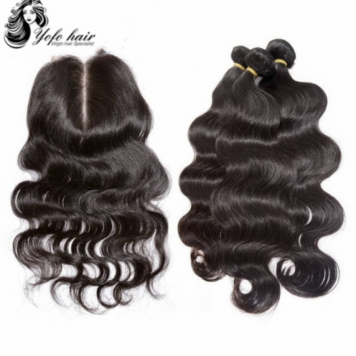 YOFO HAIR Brazilian Virgin Hair Body Wave 3 Bundles With One 4* 4 Lace Closure 100% Human Hair Natural color Free shipping