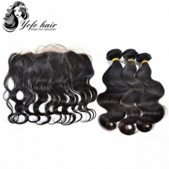 YOFO HAIR Body wave 100% virgin human hair 3 bundles with 13x4 lace frontal pre-plucked