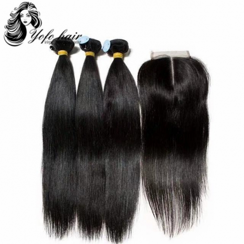 YOFO HAIR Brazilian Straight Virgin Hair 3 Bundles With One 4* 4 Lace Closure 100% Human Hair Natural color Free shipping
