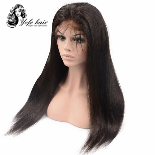 YOFO HAIR Glueless Full Lace Wig Brazilian Straight Hair 150%Density Virgin Human Hair Pre Plucked YOFO Hair Lace Wigs Natural Color