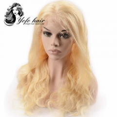 YOFO HAIR pre-plucked lace front wig body wave 613# virgin human hair adjustable elastic band wig with baby hair