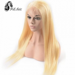 HOT SALE YOFO HAIR pre-plucked lace front wig straight 613# virgin human hair glueless adjustable elastic band wig with baby hair