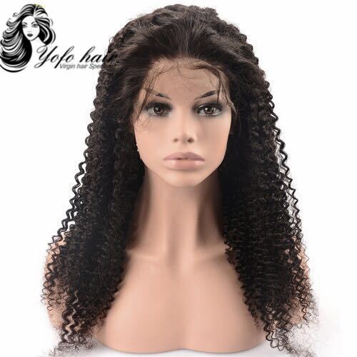 YOFO HAIR pre-plucked lace front wig kinky curly glueless virgin human hair adjustable elastic band wig with baby hair