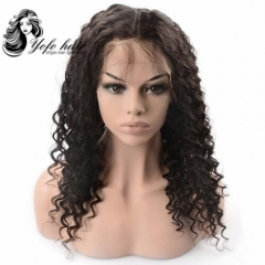 YOFO HAIR Lace front wig pre-plucked deep wave virgin human hair glueless adjustable elastic band wig with baby hair