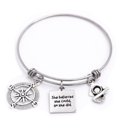 LParkin She Believed She Could So She Did Compass Graduation Bracelet Motivation Jewelry New Job Graduation Gift