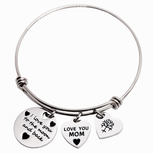 LParkin I Love You to The Moon and Back Cuff Bangle Bracelets for Mom Mothers Bracelet