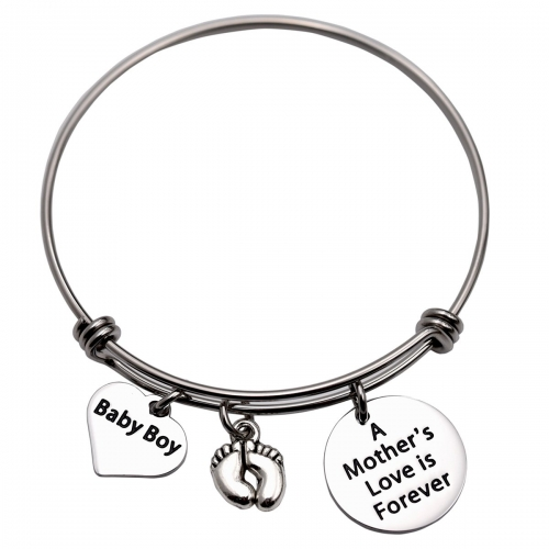 LParkin Baby boy Bangle Bracelet New Mom Gift Mom to be Bracelets