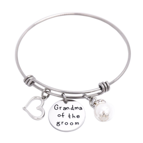 LParkin Grandma of The Groom Bracelet Stainless Steel Wedding Bridal Party Gift