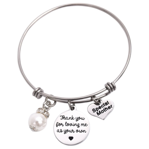 LParkin Special Mother Thank-You for Loving Me As Your Own Bracelet Stainless Steel