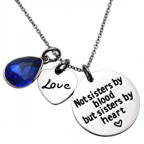 LParkin Not Sister by Blood But Sisters by Heart Necklace Birthstone Heart Necklace