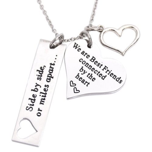 LParkin Best Friend Necklace Side by Side Or Miles Apart We are Best Friends Connected by The Heart