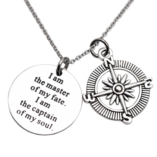 LParkin I Am The Master of My Fate I Am The Captain of My Soul Compass Necklace Jewelry Invictus Inspirational Quote Graduation Gift
