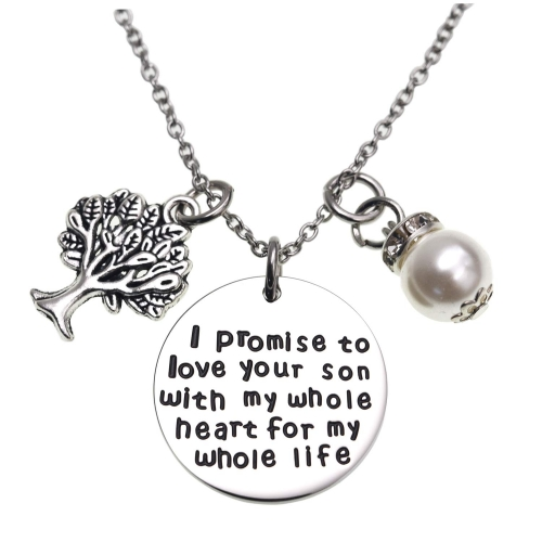 LParkin I Promise to Love Your Son with My Whole Heart for My Whole Life Necklace Mother of The Groom Gift Wedding Pendent Necklace